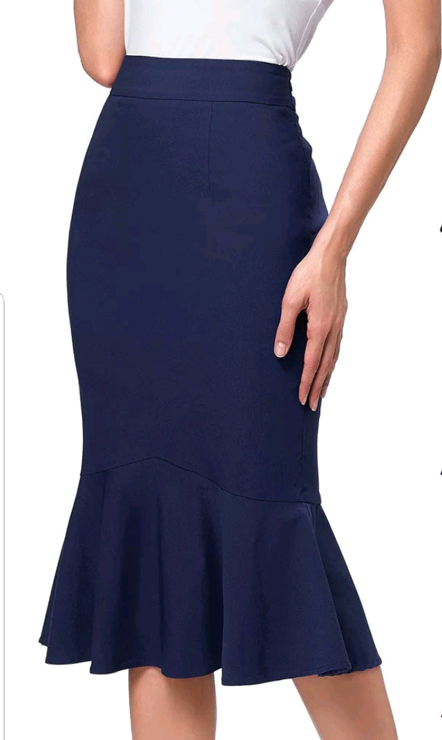 Looking Gorgeous Frill Hem Pencil Skirt