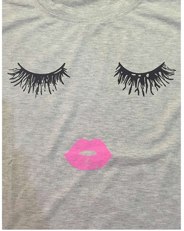 Lashes and Pink lipstick Tee