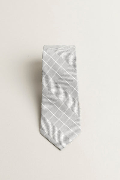 Cotton Skinny White/Grey Plaid Tie