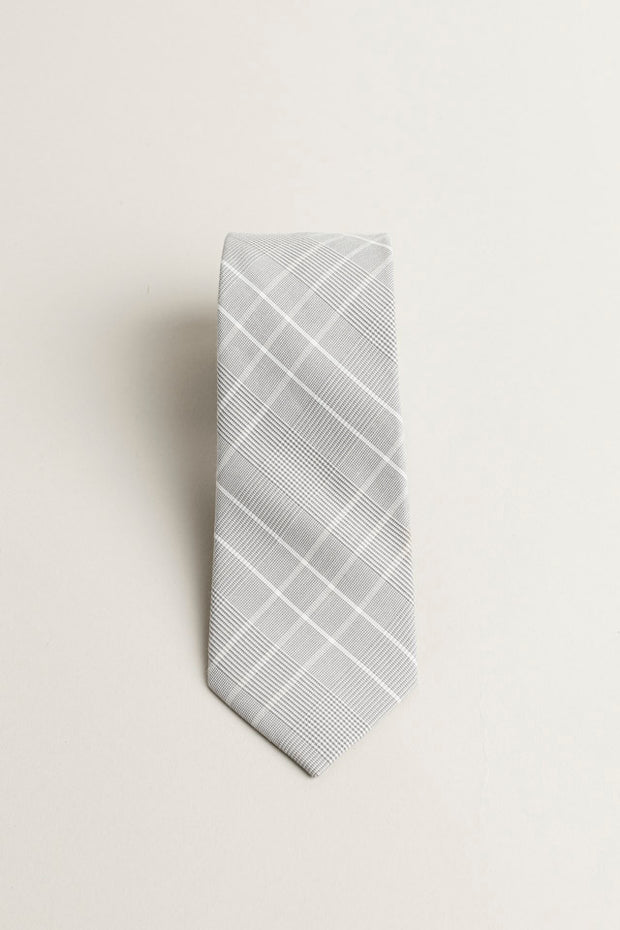 Copy of Cotton Skinny White/Grey Plaid Tie
