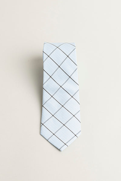 Cotton Skinny Light Blue Plaid Tie