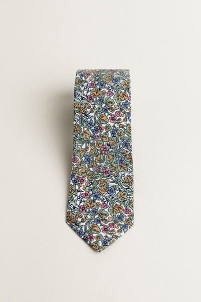 Cotton Skinny Green Floral Tie