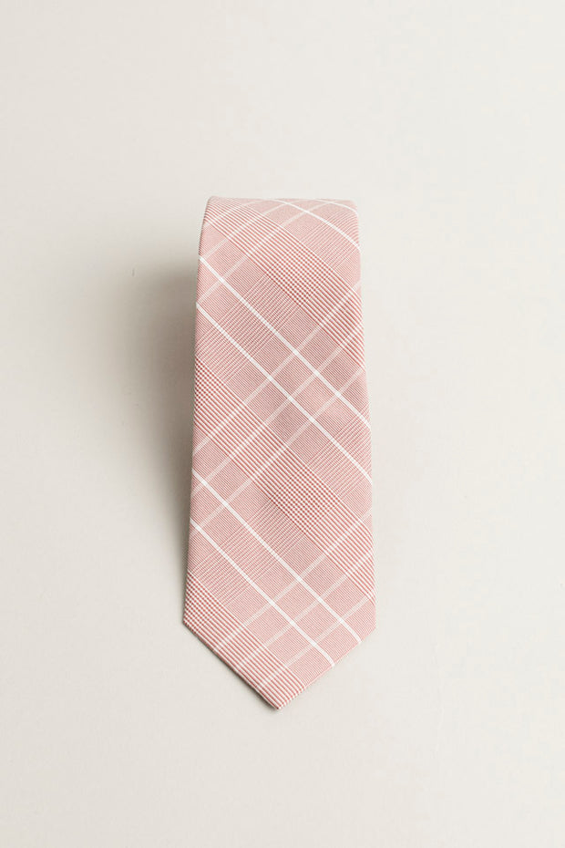 Cotton Skinny Pink Plaid Tie