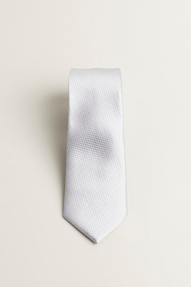 Cotton Skinny Solid Silver Tie