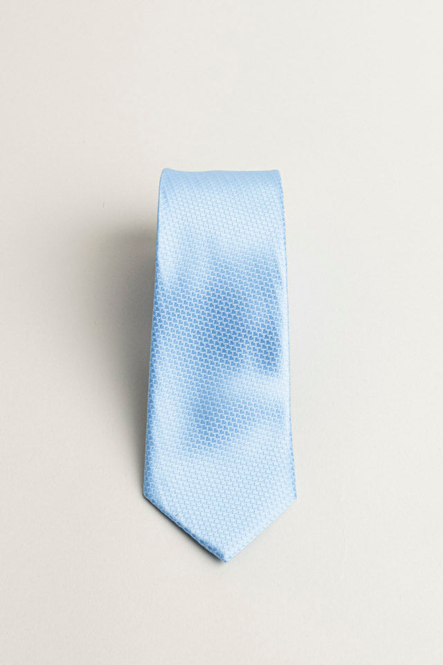 Cotton Skinny Solid Light Blue Tie