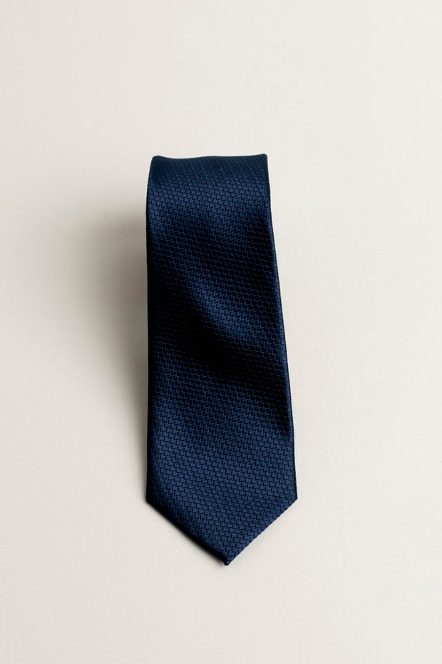 Cotton Skinny Solid Navy Tie