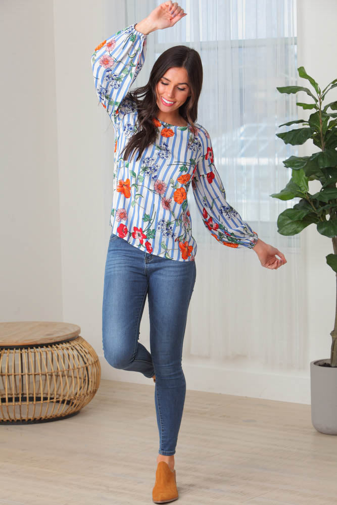 The Rivera Floral Stripe Top