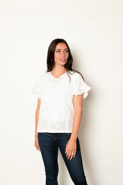 My Story White Ruffle Top