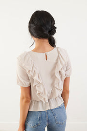 Picture it Beige Ruffled Top