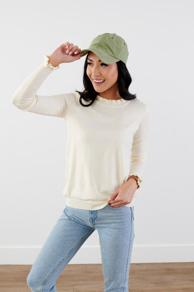 Paris Trip Ruffle Sweater-Beige