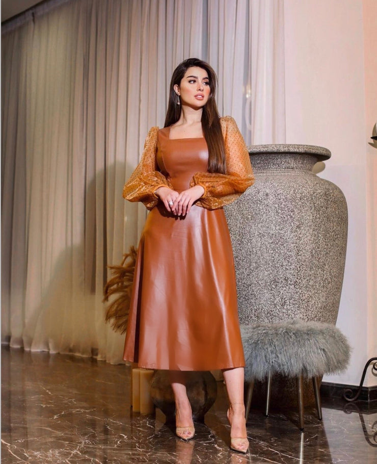 Oh Honey Faux Leather Midi Dress