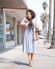 Own the Day Striped Midi Dress