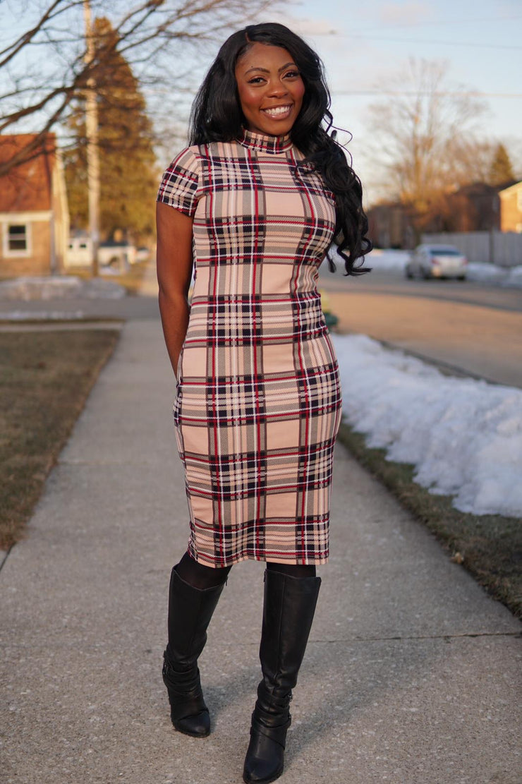 Style Plaid Pencil Dress