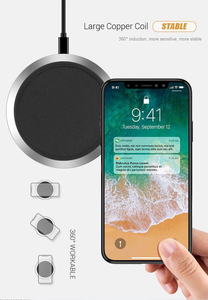 Classic Leather Qi Wireless Fast Charging Pad for iPhone