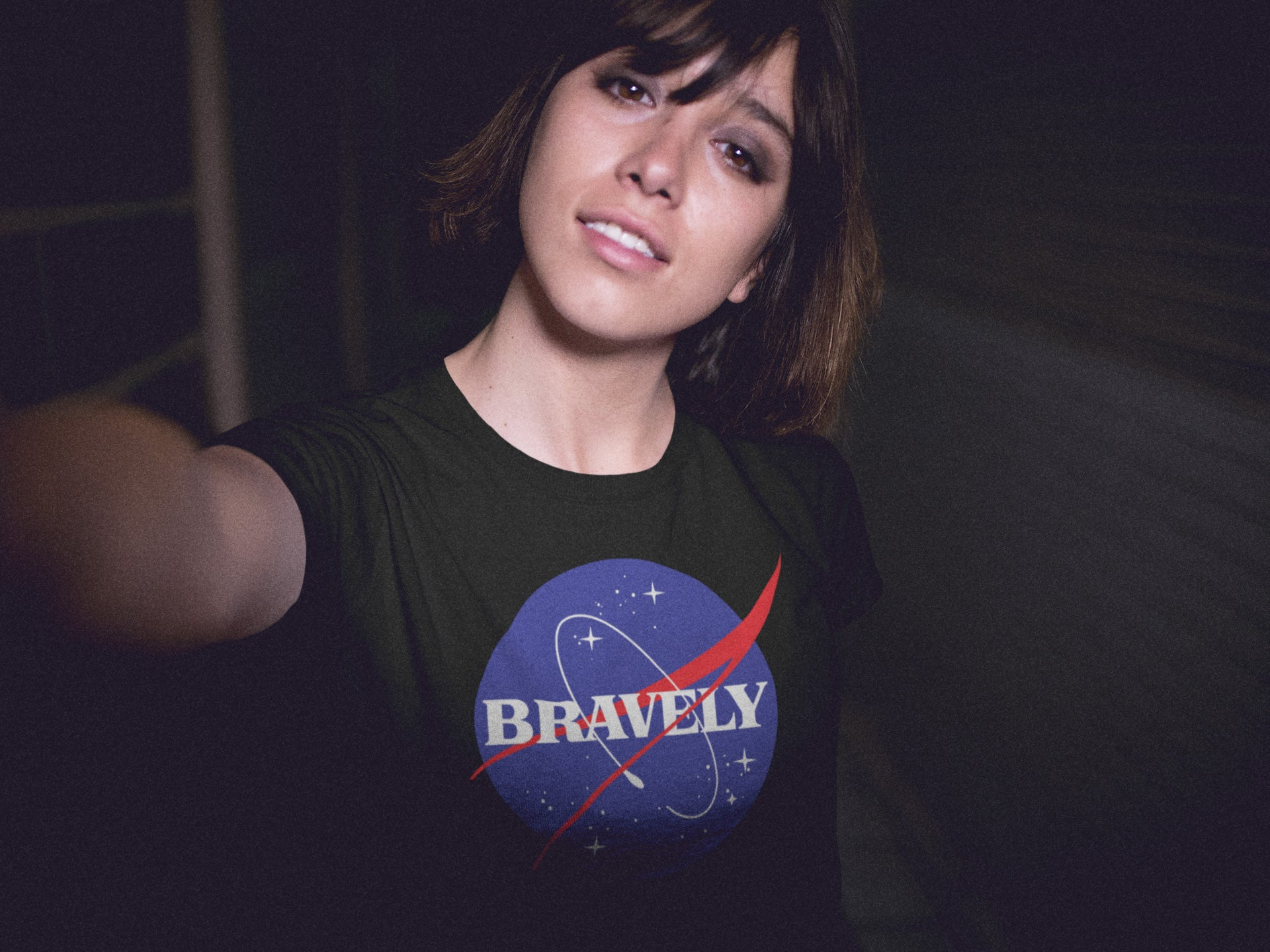 NASA x Bravely Meatball Logo Mashup T-Shirt