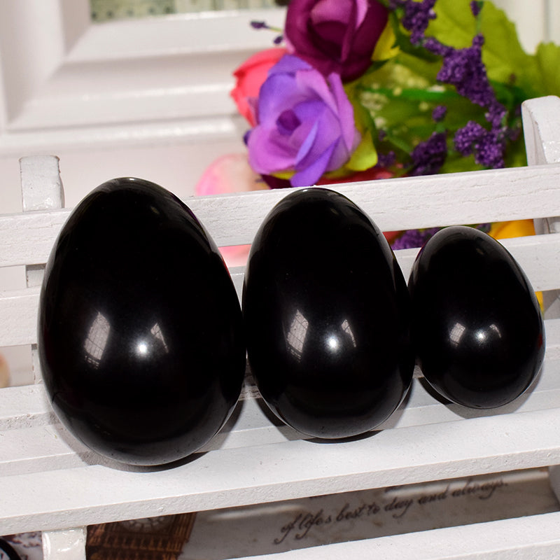 Black Obsidian Yoni Egg Set