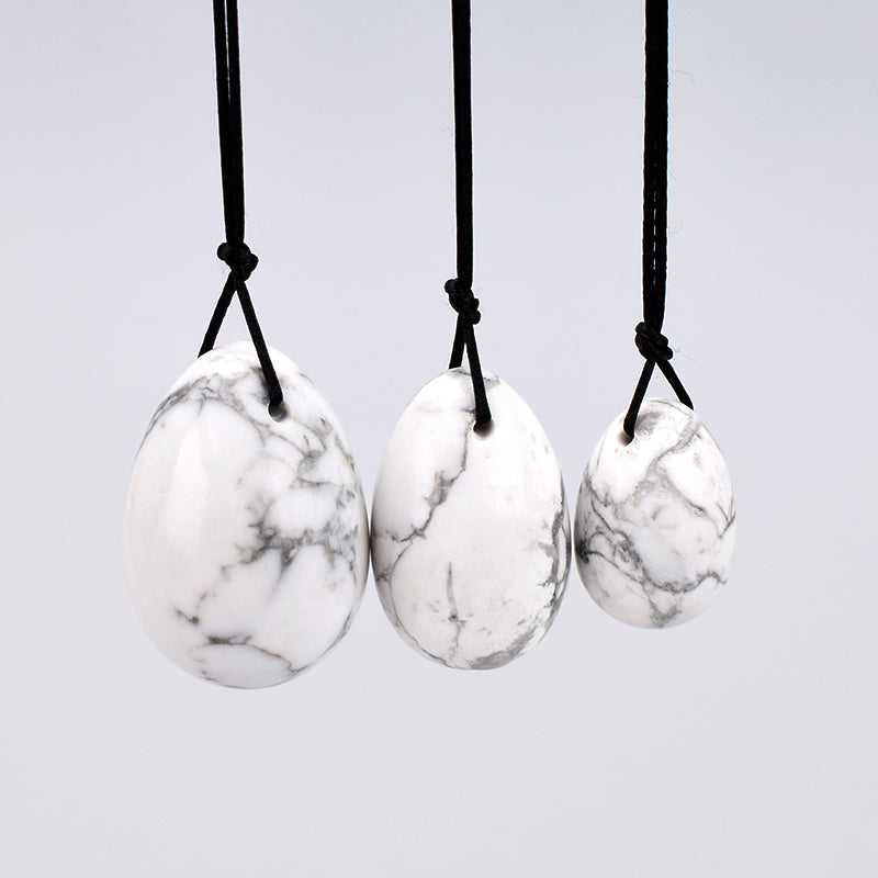 White Howlite Stone Yoni Egg Set