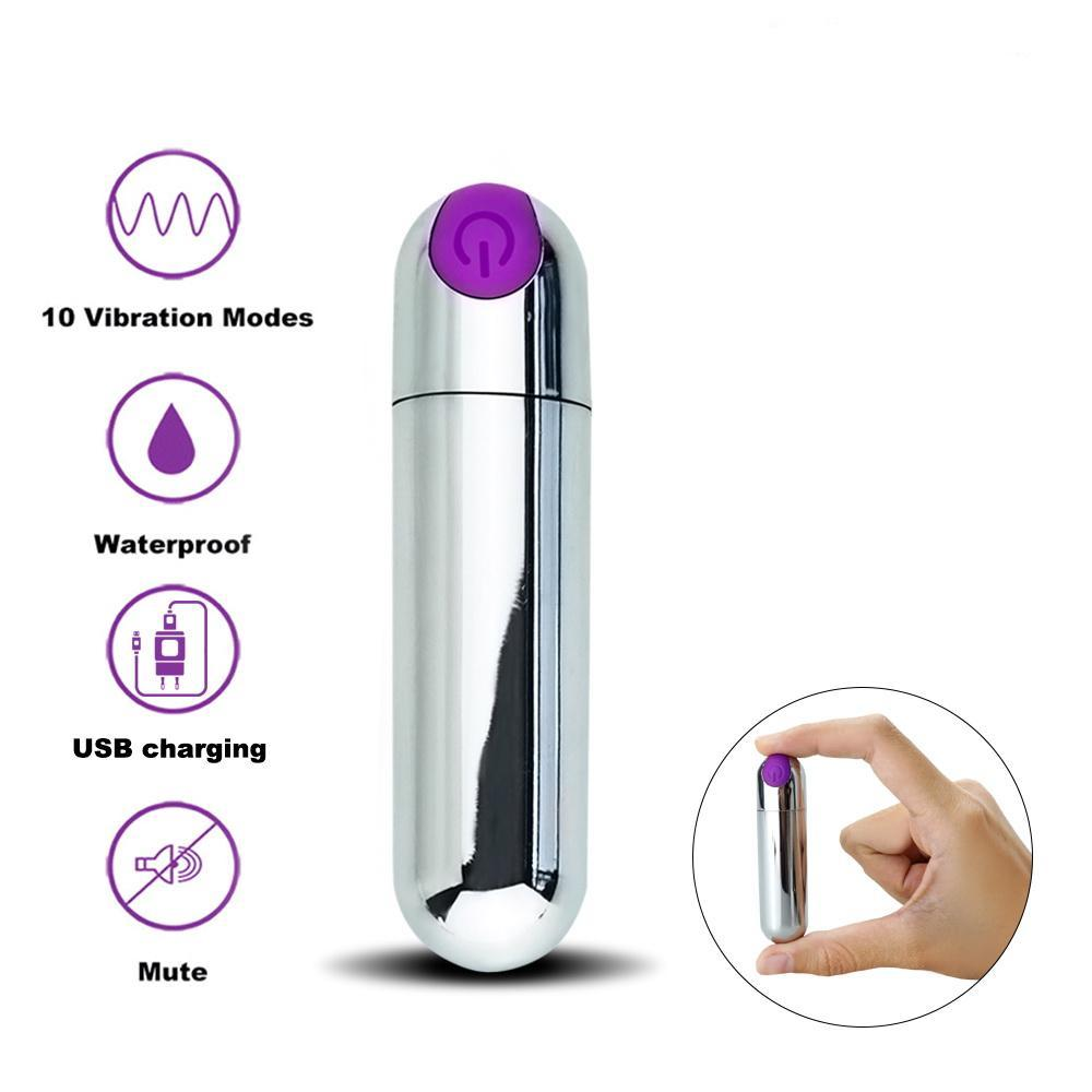 Venus Sleek Waterproof Silver Vibrating Bullet
