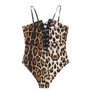 Shantelle Deep V-Neck Lace-up Leopard Bodysuit