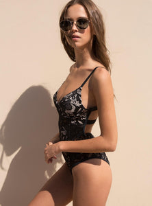 Larissa Deep V-Neck Lace Bodysuit