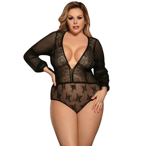 Valencia Lace Chiffon Long Sleeve Bodysuit