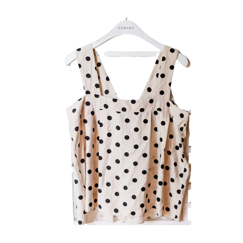 Lulu Polka Top Black