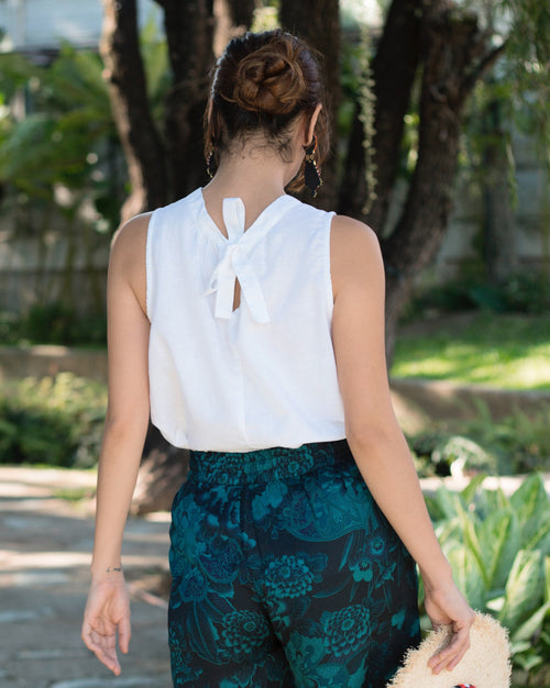 Samantha Linen Top with Ribbon Tie Back