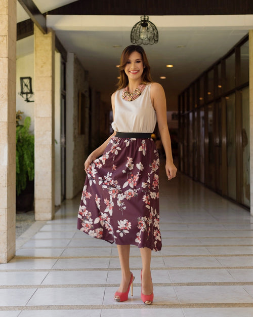Alonza Gartered Waist Floral Skirt