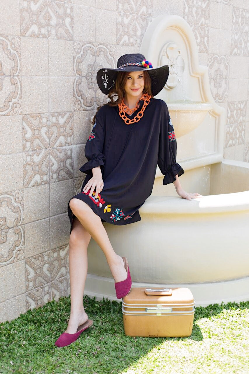 Laise Embroidered Tassel Tunic Black