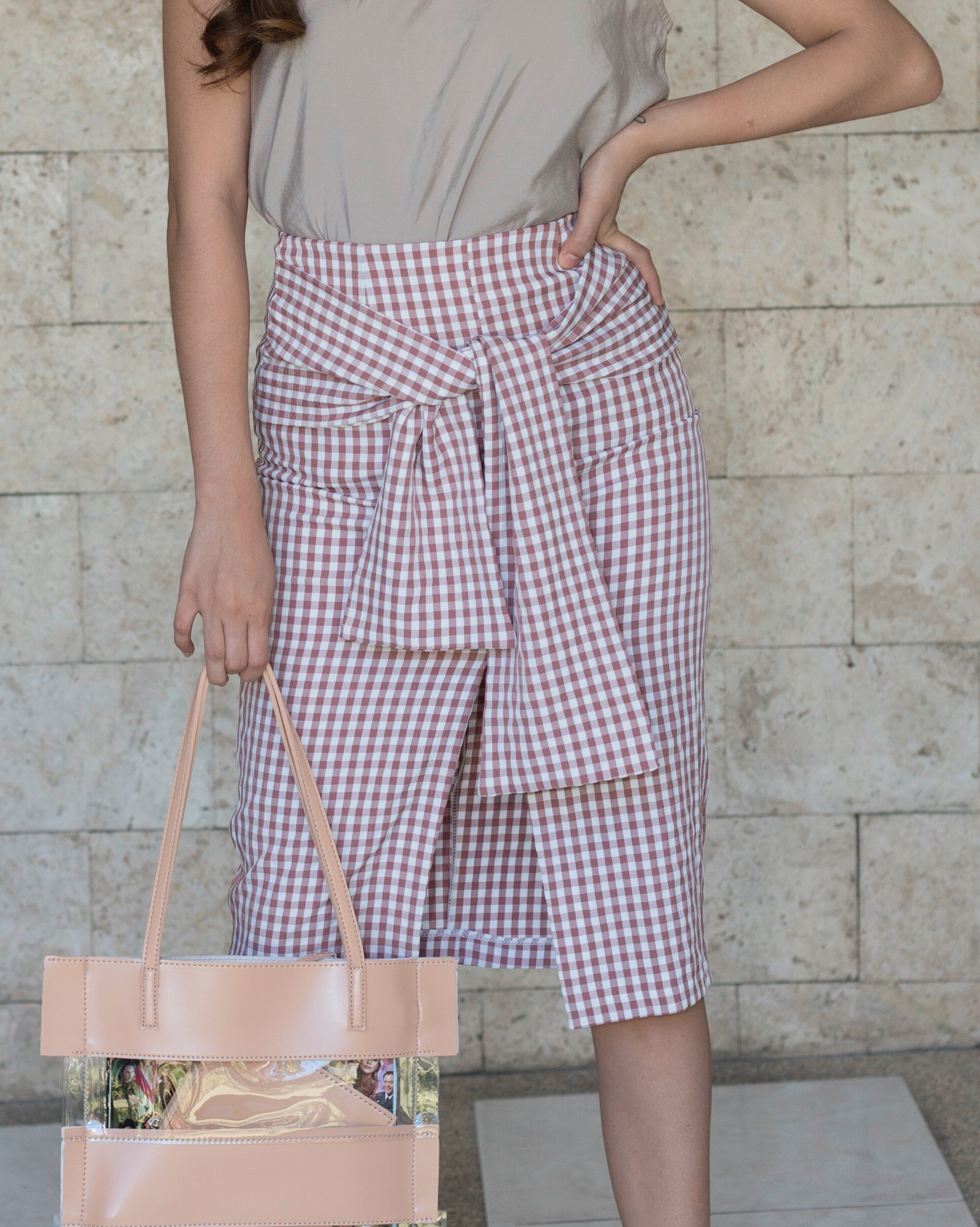 Laurent Gingham Pencil Skirt (Khaki)