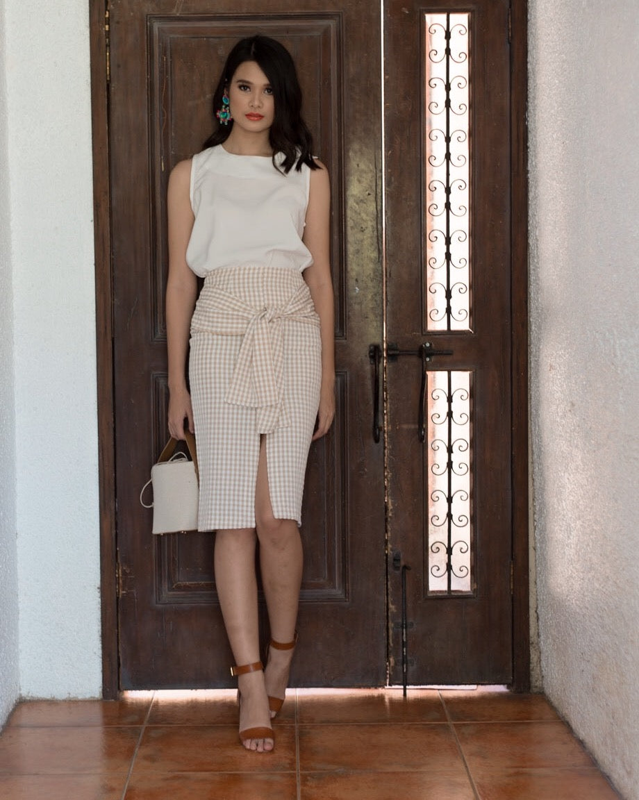 Laurent Gingham Skirt (Beige)