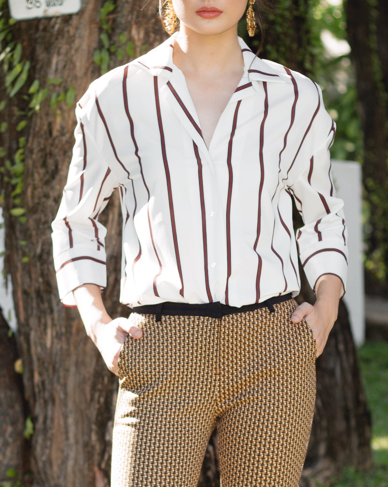 Zaragoza Striped Oversized Button Down