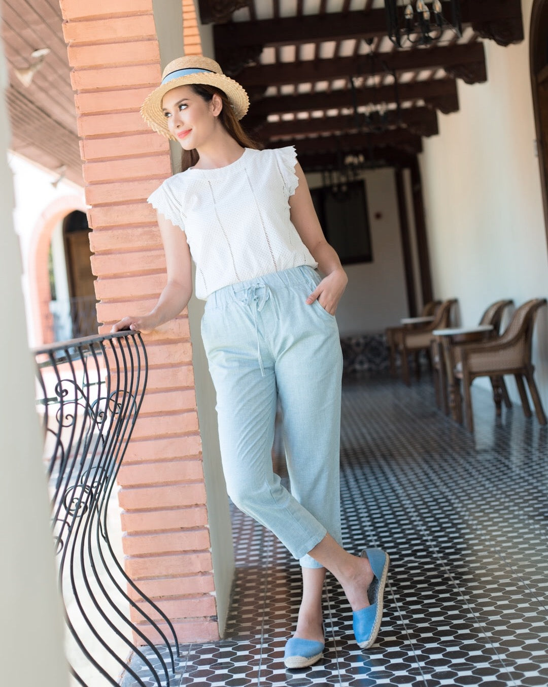 Tace Linen Drawstring Pants (Blue)