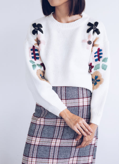 Cosima Embroidered Floral Knit Sweater