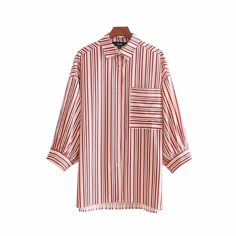 Caelyn Stripe Button Down Pleated Sleeves
