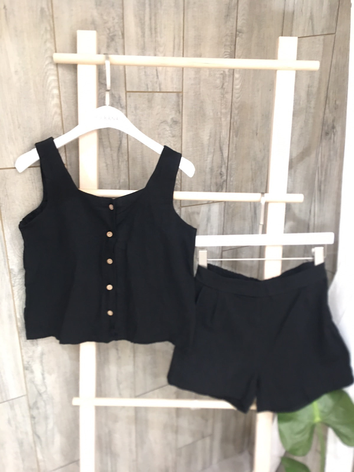 Luna button down top short set