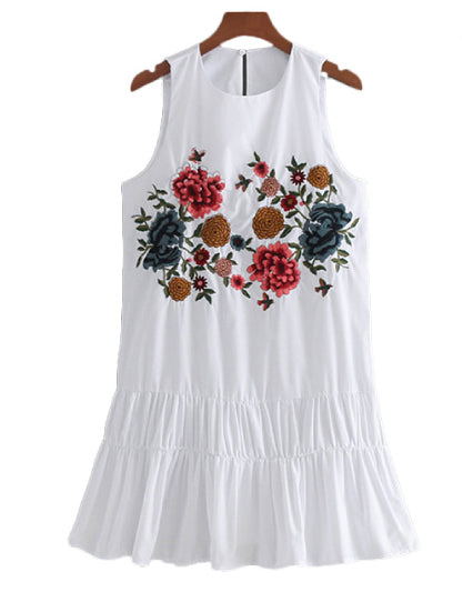 Gibby Embroidered Pleated Mini Dress