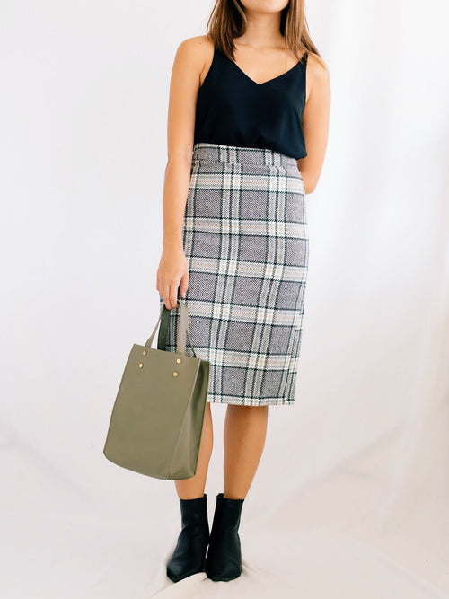 Adela Plaid Skirt- Mint