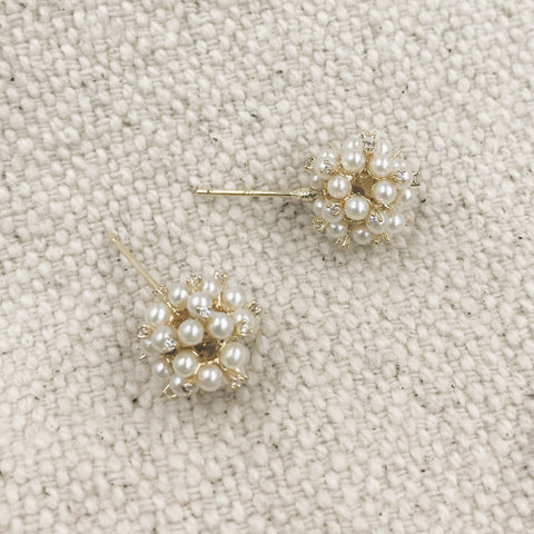 Tiara Gold Pearlized  Round Earrings