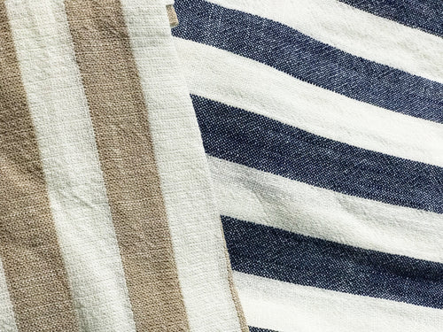 Aubrey Linen Stripe Dress Navy