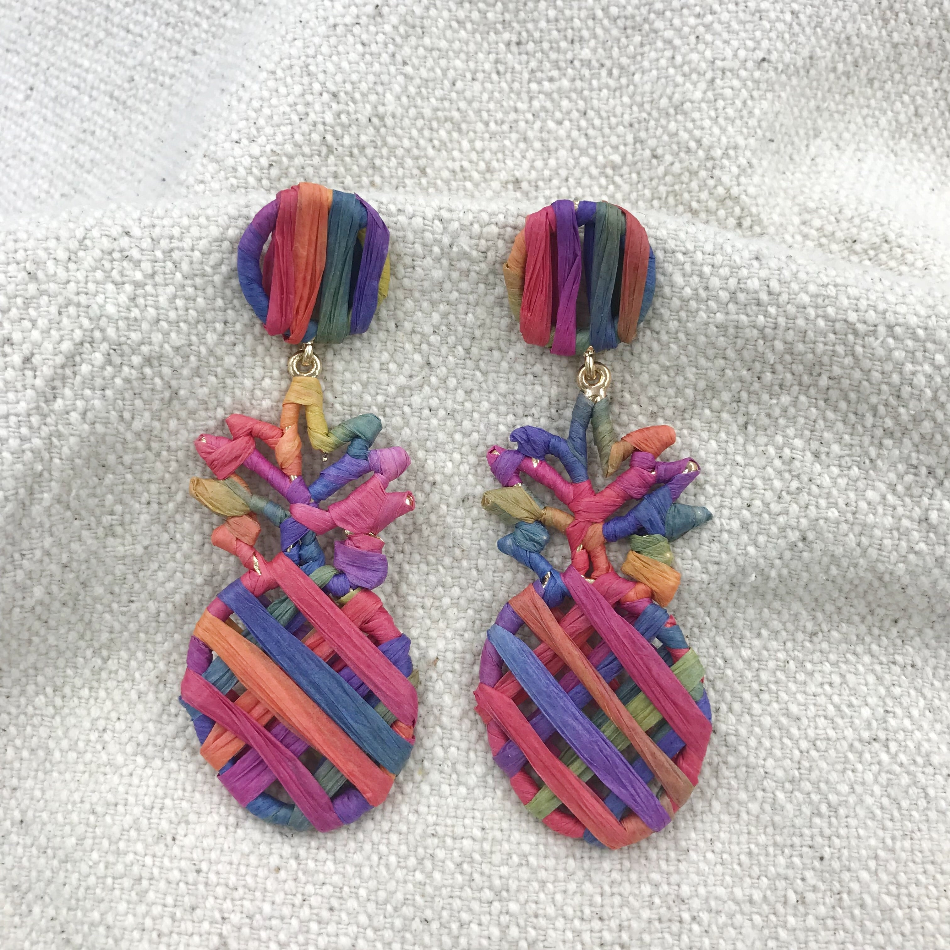 Piña Earrings (Multi Tangerine)