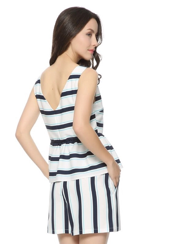 Belli V Neck Stripe Flounce Top