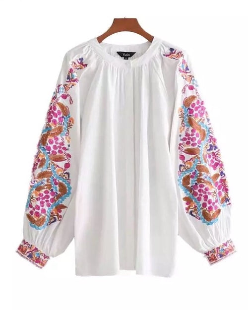 Adele Boho Embroidered Tunic Top