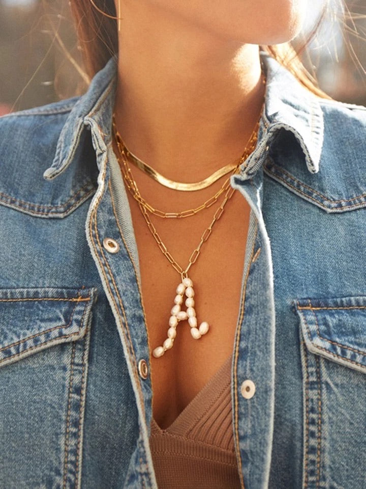 HOLA Freshwater Pearl Initial Necklace
