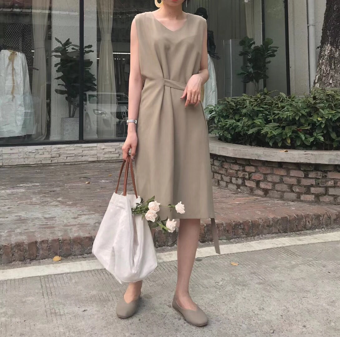 Tessa Sash Belted Dress (Beige)