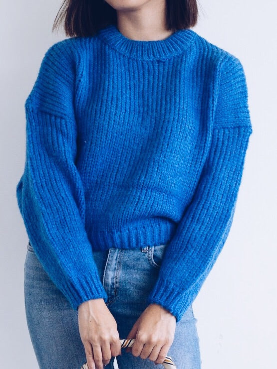 Elane Knit Sweater Cropped Pullover - BLUE