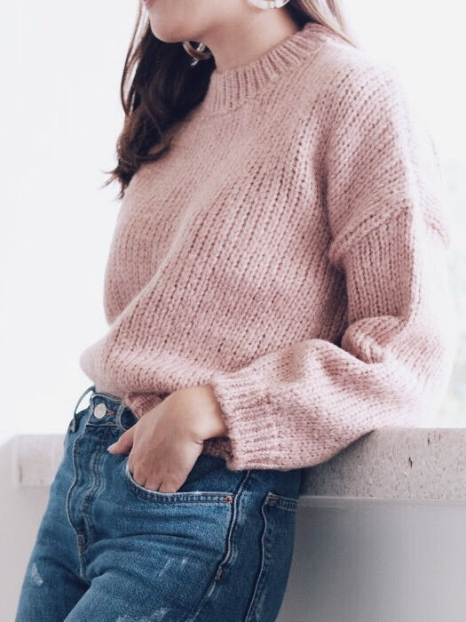Elane Knit Sweater Cropped Pullover - BLUSH