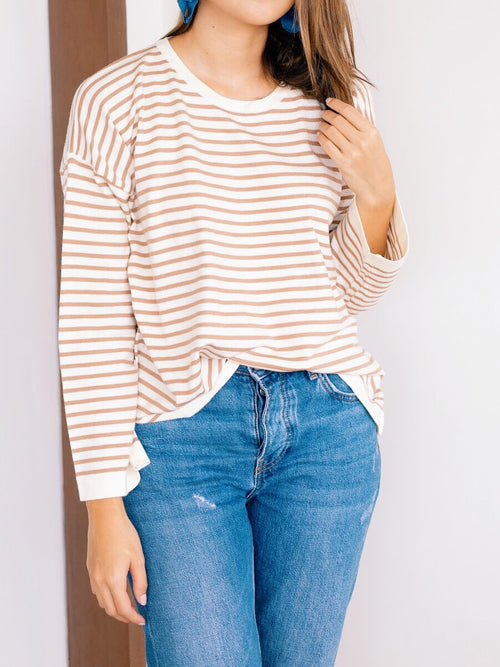 Jamie Stripe knit top - Camel