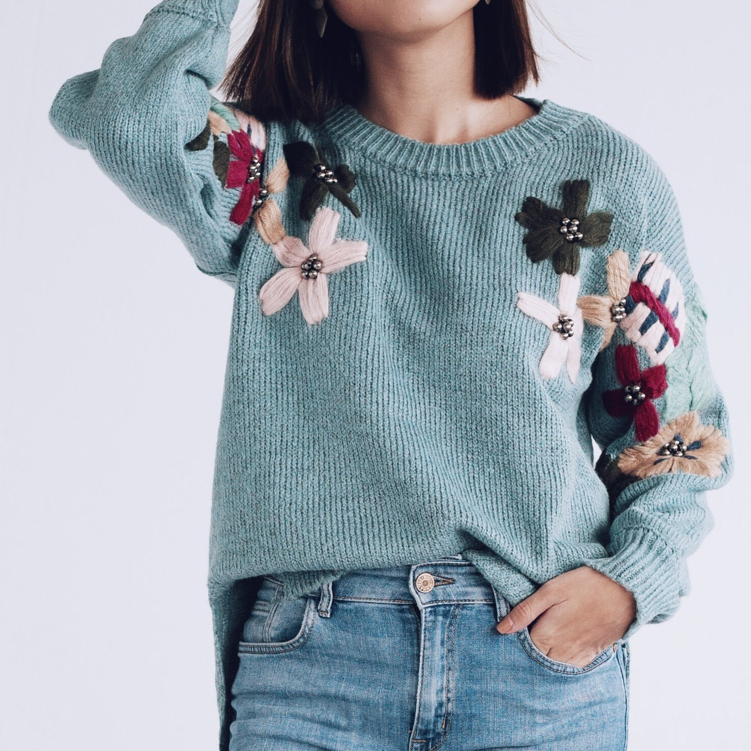 Cosima Embroidered Floral Knit Sweater- Aqua