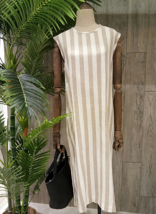Aubrey Linen Stripe Dress Beige